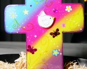 Handmade Multi-Color Wooden Cross