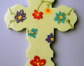 Handmade Green Wooden Cross hand painted.
