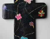 Handmade Black Base Wooden Cross, Cool Patterns and Colors