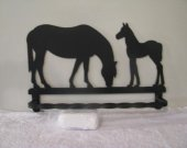 Horse and Colt Towel Rack Metal Wall Art Silhouette