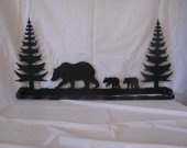 Bear 4 with Trees Towel Rack Metal Wall Art Wildlife Silhouette