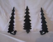 Tree Towel/Coat Rack Metal Wall Art Silhouette Set of 3