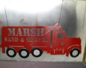 KW Dump Truck Red Metal Wall Art Silhouette Sign