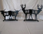 Wolf Bear Deer Steer Candle Reflector Set of (2) Metal Wall Art Silhouette