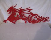 Dragon 001 Metal Wall Art Silhouette Red