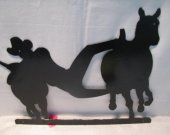 Bulldogging Metal Silhouette Western Wall Art