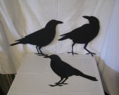 Raven Crow Collection Metal Wall Yard Art Silhouette Set of 3