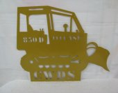 Bulldozer Metal Silhouette with Name Wall Yard Art