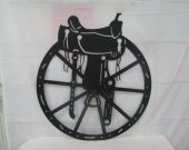 Sadldle and Wheel Silhouette Western Metal Wall Art