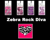 Girl Diva Rock Zebra Print Set of 12 VIP Party Invitations or Party Favors