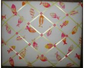 Pink Gone Fishing Board made 2 match Pottery Barn Kids
