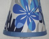 Camo Hawaiian Blue Flower Nightlight Lamp made w Pottery Barn Kids Fabric
