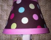 Nightlight made w Pottery Barn Kids Coco Dot Brown multi colored polka dot fabric
