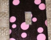 Michael Miller Brown Pink Wonder Dots Switchplate