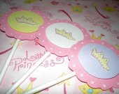 Princess Crown Girls Birthday Cupcake Toppers