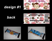 Girl Mod Monkey Set of 12 Personalized Candy Bar Wrappers Party Favors