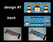 Boy Mod Monkey Set of 12 Personalized Candy Bar Wrappers Party Favors