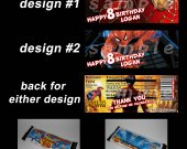 Spiderman Set of 12 Personalized Candy Bar Wrappers Party Favors