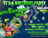 Angry Birds Space 4x6 Personalized Birthday Party Invitations