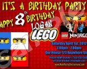 Ninjago 4x6 Personalized Birthday Party Invitations