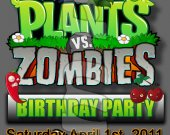 Plants vs. Zombies Ticket Style Personalized Party Invitations