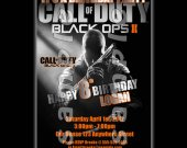 Call of Duty Black Ops 2 4x6 Personalized Birthday Party Invitations