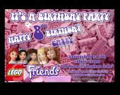 Lego Friends 4x6 Personalized Birthday Party Invitations