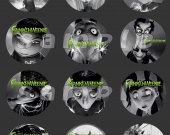 Frankenweenie Set of 12 2.5-Inch Round Personalized Stickers or Cupcake Toppers