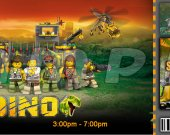 Lego Dino Ticket Style Personalized Party Invitations