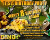 Lego Dino 4x6 Personalized Birthday Party Invitations