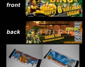 Lego Dino Set of 12 Personalized Candy Bar Wrappers Party Favors
