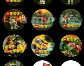Lego Dino Set of 12 2.5-Inch Round Personalized Stickers or Cupcake Toppers