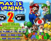 Super Mario Brothers Personalized 4x6  Birthday Party Invitations