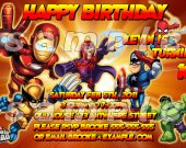 Super Hero Squad Personalized 4x6 Birthday Party Invitations