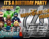 Lego Avengers 4x6 Personalized Birthday Party Invitations