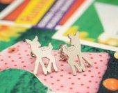 Bambi 925 silver studs earrings in matt silver