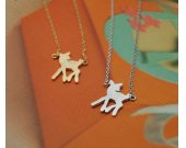 Baby deer Bambi charm pendant Necklace gold / silver