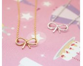 Bowknot charm pendant necklace in gold / silver