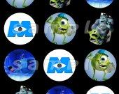 Monsters, Inc. Set of 12 2-Inch Round Personalized Stickers or Seals - Set 2