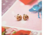 Tiny LadyBug studs earrings in matte gold,925 sterling silver post