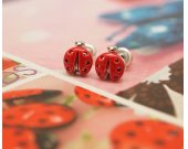 Tiny Lady Bug studs earrings in  red 925 sterling silver post