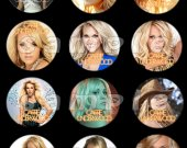 Carrie Underwood Set of 12 2-Inch Round Personalized Stickers or Seals