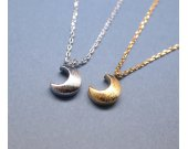 Simple cute crescent moon pendant Necklace in gold and silver