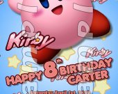 Kirby Personalized 4x6 Birthday Party Invitations