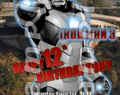 Iron Man 3 Personalized 4x6 Birthday Party Invitations - Style 2