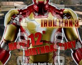 Iron Man 3 Personalized 4x6 Birthday Party Invitations - Style 3