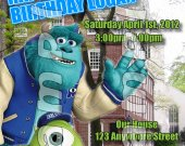 Monsters University Personalized 4x6 Birthday Party Invitations - Style 2