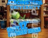 Monsters University Personalized 4x6 Birthday Party Invitations - Style 1