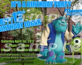 Monsters University Personalized 4x6 Birthday Party Invitations - Style 3