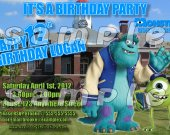 Monsters University Personalized 4x6 Birthday Party Invitations - Style 4